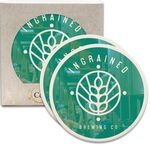 Custom CoasterStone Round Absorbent Stone Coaster - 2 Pack (4 1/4