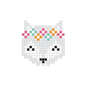 Pixel Grey Fox Temporary Tattoo