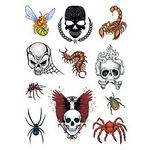 Custom Skulls and Bugs Set of Temporary Tattoos