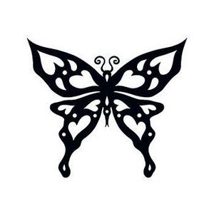 Heart Tribal Butterfly Temporary Tattoo