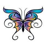 Custom Butterfly with Swirls Temporary Tattoo