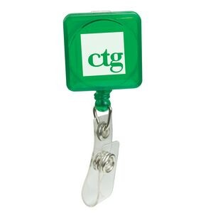Pad Printed Retractable Badge Holder (Square w/ Slip on Clip)