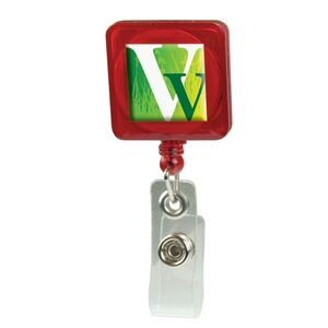 Domed Retractable Badge Holder (Square w/ Alligator Clip)
