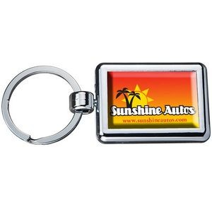 Two Sided Budget Chrome Plated Domed Keytag Rectangle