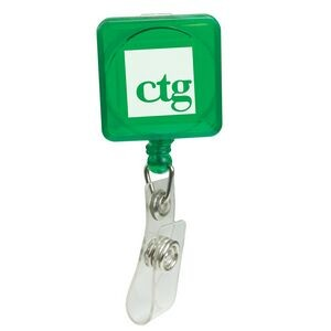 Pad Printed Retractable Badge Holder (Square w/ Alligator Clip)