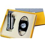 Custom Metal Shell Lighter and Cigar Cutter Gift Set