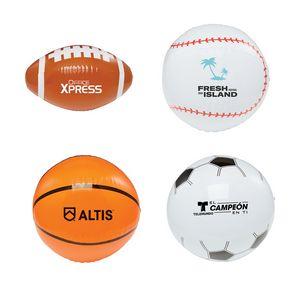 16 Sport Beach Balls - Football, Basketball, Baseball, Soccer