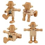Custom RoboDroidBot Poseable Wooden Robot Fidget Toy
