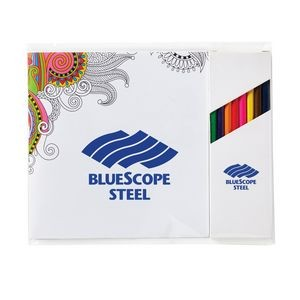 "Deluxe 7"" x 7"" Adult Coloring Book & 8-Color Pencil Set"