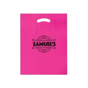 "Die Cut Fold-Over Reinforced Plastic Bag (12""x15""x3"") - Flexo Ink"
