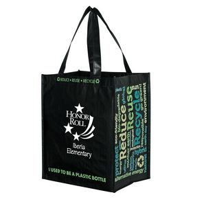 Laminated 100 percent Recycled P.E.T. Grocery Tote Bag (12x8x13) - Screen Print
