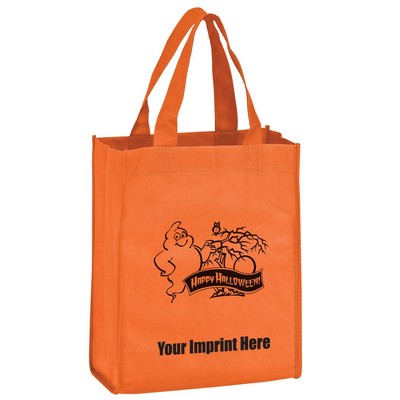 "Halloween Stock Design Orange Non-Woven Tote Bag • Ghost - Customized (8""x4""x10"") - Screen Print"
