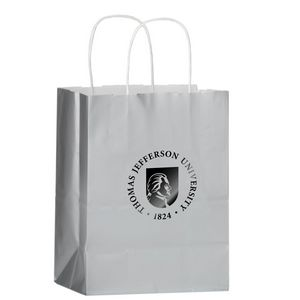 Color Gloss Paper Shopper Tote Bag (8x4 3/4x10 1/2) - Foil Stamp