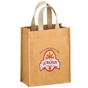 "CYCLONE - Washable Kraft Paper Tote Bag w/ Web Handle (8""x4""x10"") - EV"