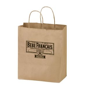 Natural Kraft Paper Shopper Tote Bag (8x4 3/4x10 1/4) - Flexo Ink