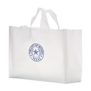 "Clear Frosted Soft Loop Plastic Shopper Bag w/Insert (16""x6""x12"") - Flexo Ink"