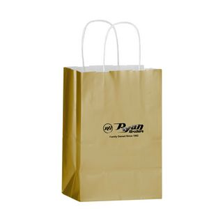 Color Gloss Paper Shopper Tote Bag (5x3 1/2x8) - Foil Stamp