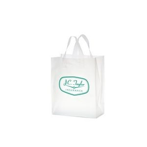 "Clear Frosted Soft Loop Plastic Shopper Bag w/Insert (8""x4""x11"") - Flexo Ink"