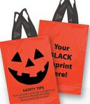Custom Halloween Stock Design Orange Soft Loop Shopper • Pumpkin Face & Safety Tips (10