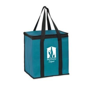 "Insulated Non-Woven Square Zipper Top Tote Bag w/Insert (12""x8""x13"") - Screen Print"
