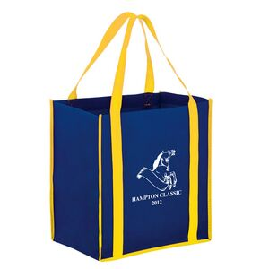 Two-Tone Heavy Duty Non-Woven Grocery Tote Bag w/Insert (12x8x13) - Screen Print