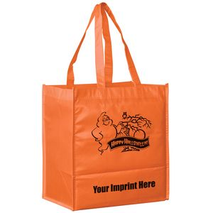 Halloween Stock Design Orange Non-Woven Tote Bag • Ghost - Customized (13x5x13) - Screen Print
