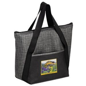 "Insulated Tweed Look Non-Woven Tote w/Insert and Full Color (14""x11""x5"") - Color Evolution"