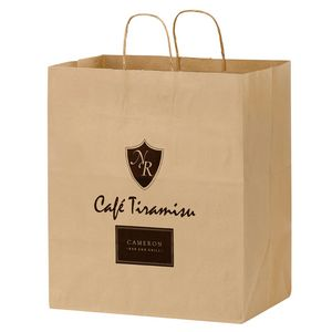 Natural Kraft Paper Carry-Out Bag (14 1/2x9 1/2x16 1/4) - Flexo Ink
