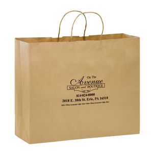 Natural Kraft Paper Shopper Tote Bag (16x6x12) - Flexo Ink