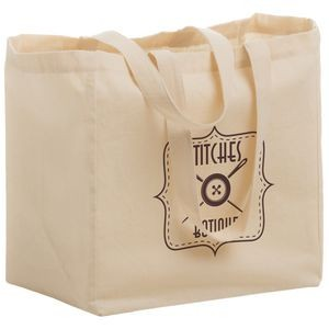 "Cotton Canvas Grocery Tote Bag (12""x8""x13"") - Screen Print"