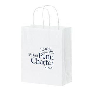 White Kraft Paper Shopper Tote Bag (8x4 3/4x10 1/4) - Flexo Ink