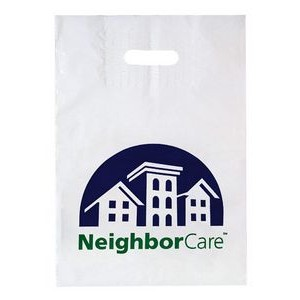 "Patch Handle Reinforced Die Cut Plastic Bag (12""x16""x4"") - Flexo Ink"