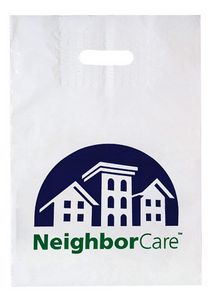 Patch Handle Reinforced Die Cut Plastic Bag (12x16x4) - Flexo Ink