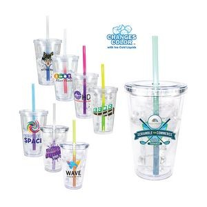 16 Oz. Victory Acrylic Tumbler w/ Mood Straw (Full Color Digital)