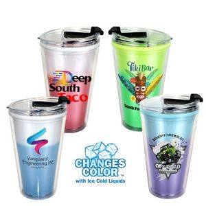 16 Oz. Mood Victory Acrylic Cup w/Flip Top Lid (Full Color Digital)