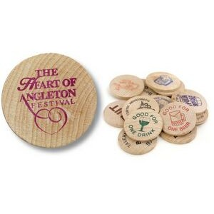 Wooden Nickel w/ Covered Wagon Wooden Stock Logo (Spot Color)