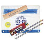 Custom Clear Translucent Pouch School Kit w/ 2 Pencils, 6