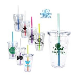 16 Oz. Victory Acrylic Tumbler w/ Mood Straw (Spot Color)