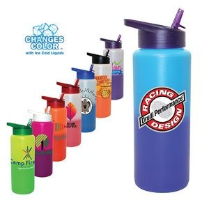 32 Oz. Mood Sports Bottle w/Straw Cap Lid (Full Color Digital)