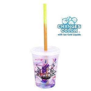 12 oz. Rainbow Confetti Mood Cup/Straw/Lid Set