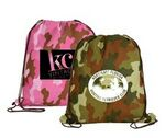 Custom Non Woven Camo Drawstring Backpack (Spot Printed)
