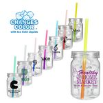 Custom 24 Oz. Plastic Mason Jar w/ Mood Straw (Spot Color)