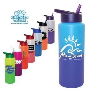 32 Oz. Mood Sports Bottle w/Straw Cap Lid