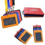 Custom PU Leather Lanyard Business ID card Badge holder