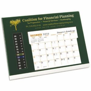 TE LCD Therm-O-Dex Refillable Desk Calendar, Green/White