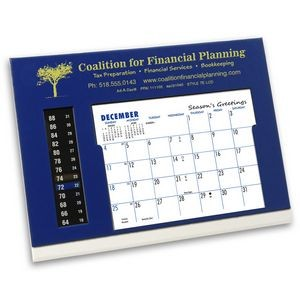 TE LCD Therm-O-Dex Refillable Desk Calendar, Blue/White