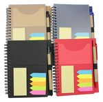 Custom Recyclable PP cover Spiral notebook with sticky note and paper eco pen