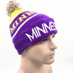Custom Acrylic knitted Flanging Beanie hat with ball crown and polar fleece inside lining