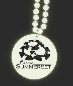 33 Glow-in-the-Dark Print-N-Toss Medallion Beads w/ 1-color Direct Imprinted Medallion