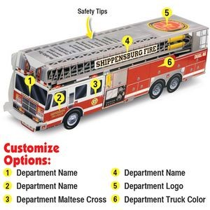 Custom Printed Paper-Stock Pop-Up Ladder Fire Truck